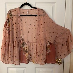 Semi Sheer Dusty Rose & Mauve Floral Kimono
